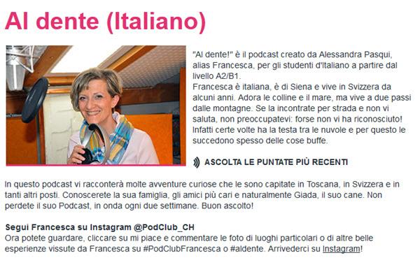 Podcast d'Al Dente pour apprendre l'italien
