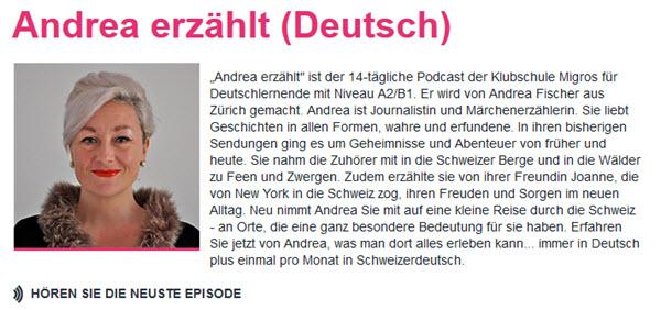 Andrea erzaehlt Podcast zum Deutsch lernen