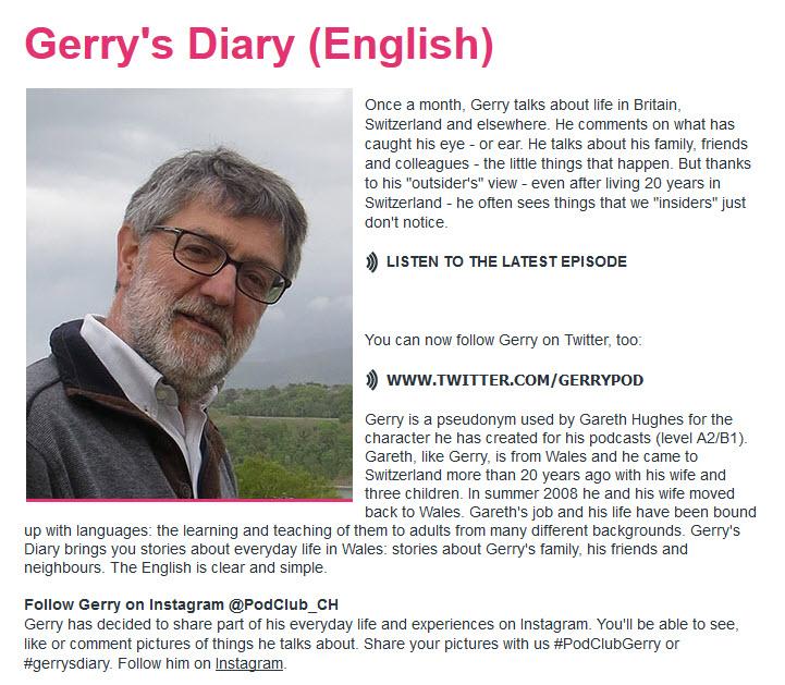 Podcast de Gerry's Diary pour apprendre l'anglais