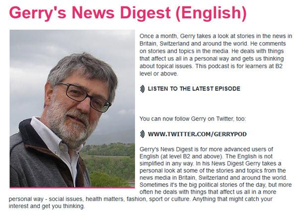 Gerry's News Digest Podcast pour apprendre l'anglais