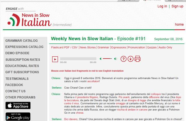 Nouvelles dans un podcast italien lent pour apprendre l'italien