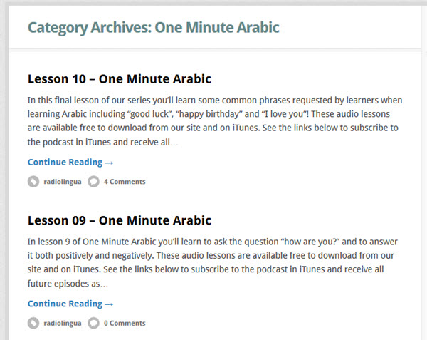 One Minute Arabic Podcast zum Arabisch lernen