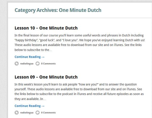 One Minute Dutch Podcast zum Holländisch lernen