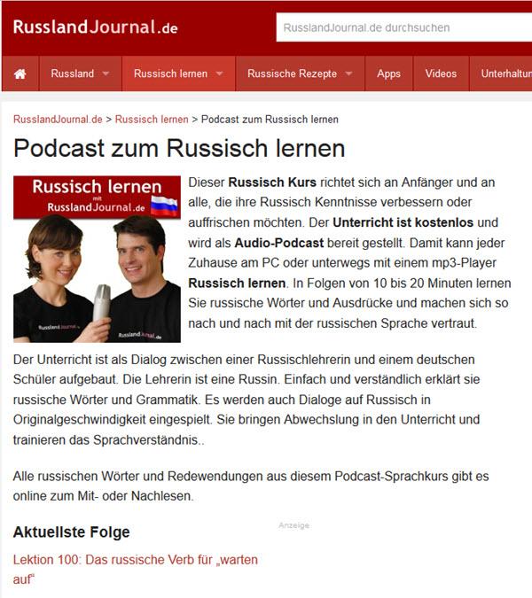 Russland Journal Podcast zum Russisch lernen