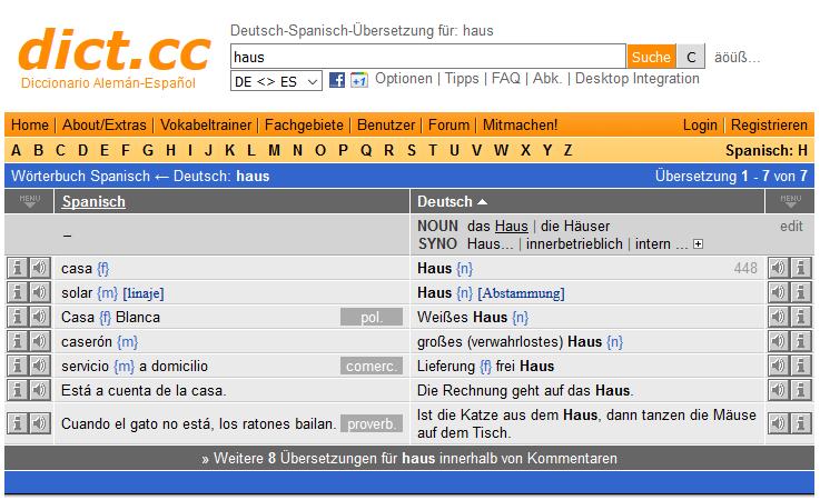 Online-Wörterbuch und Online-Übersetzer Dict.cc