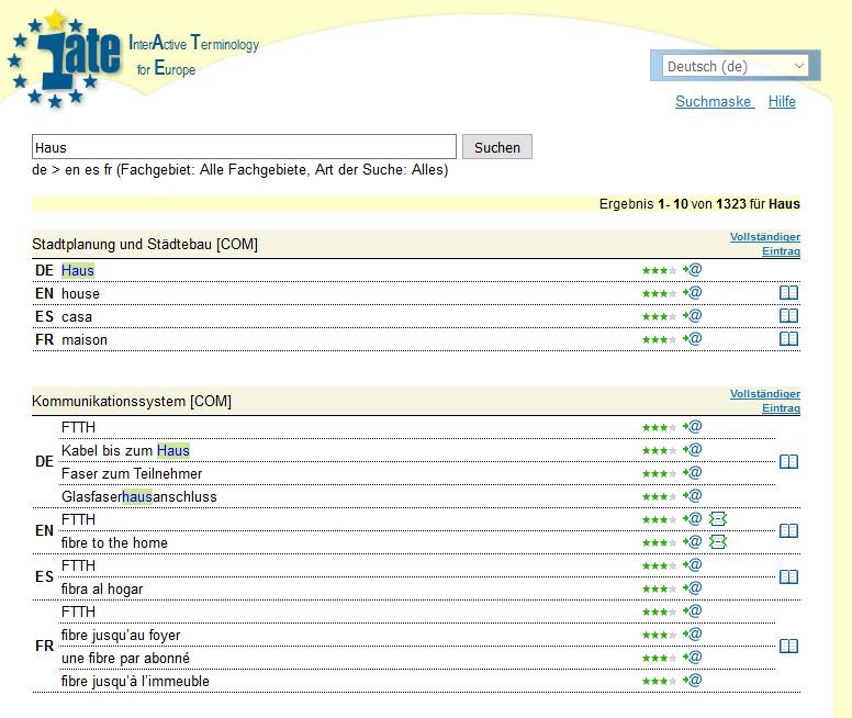 Online-Wörterbuch und Französisch-Übersetzer IATE