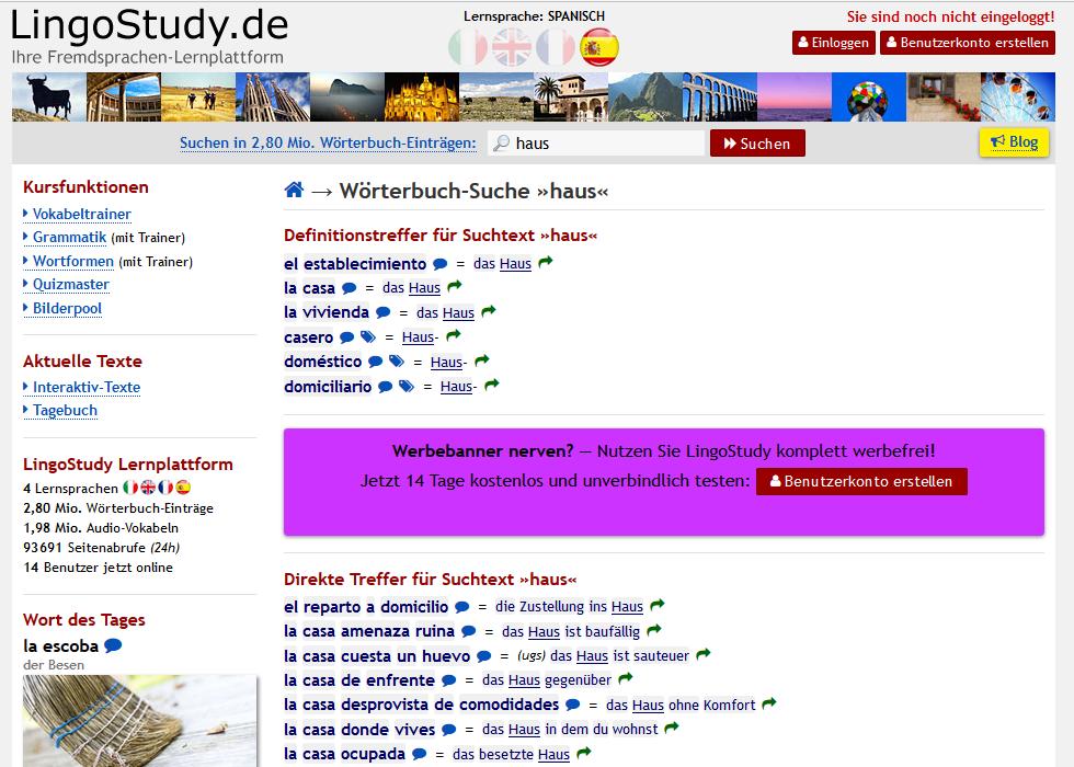 Online-Wörterbuch und Online-Übersetzer Lingostudy