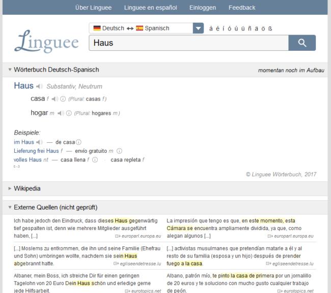Sprachtool-Übersetzer-Wörterbuch-Linguee