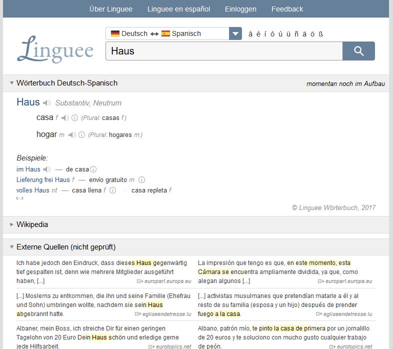 Online-Wörterbuch und Online-Übersetzer Linguee