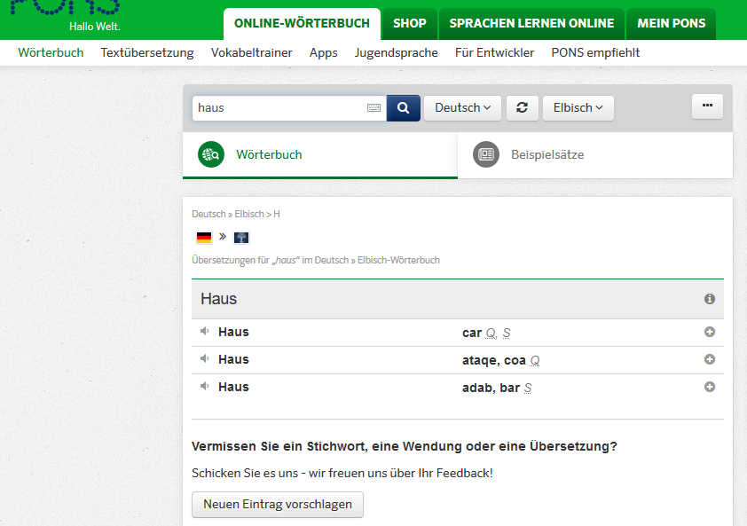 Online-Wörterbuch und Online-Übersetzer PONS