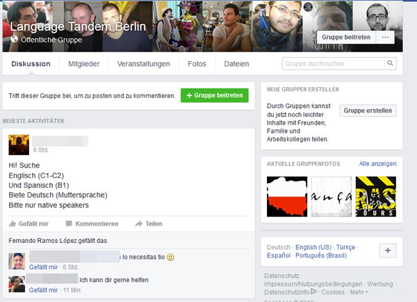 Facebook Tandempartner Gruppe fuer Sprachtandems