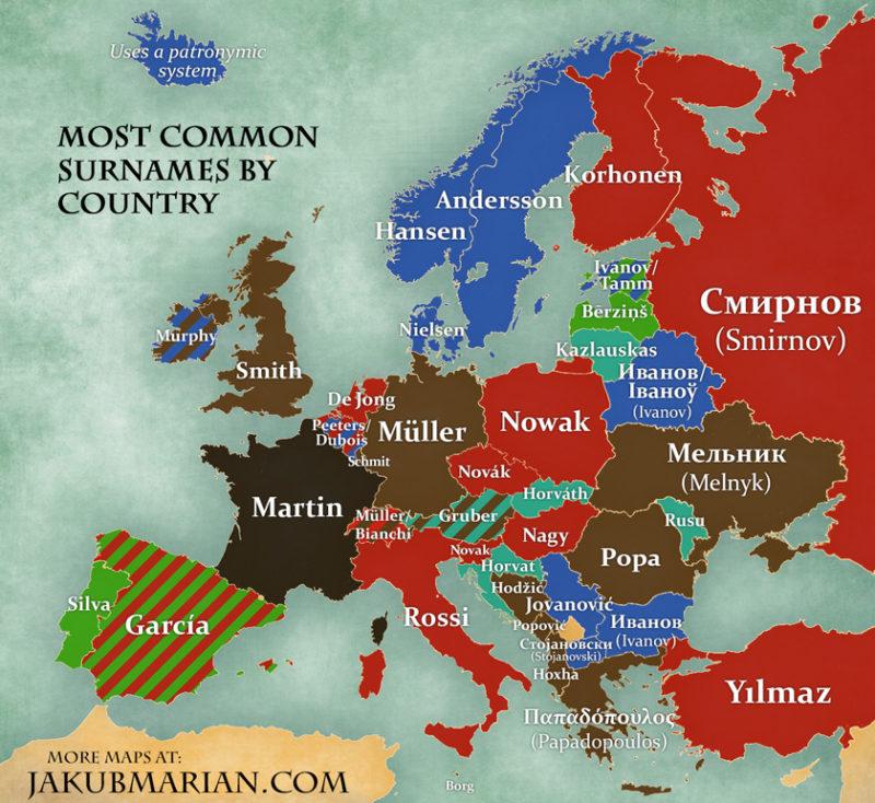 Die populärsten Nachnamen nach Land in Europa, von Jakub Marian.