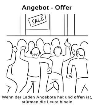 Angebot-Offer Eselsbrücke Deutsch-Englisch
