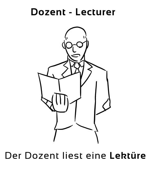 Eselsbrücke Englisch Deutsch: Dozent - Lecturer.
