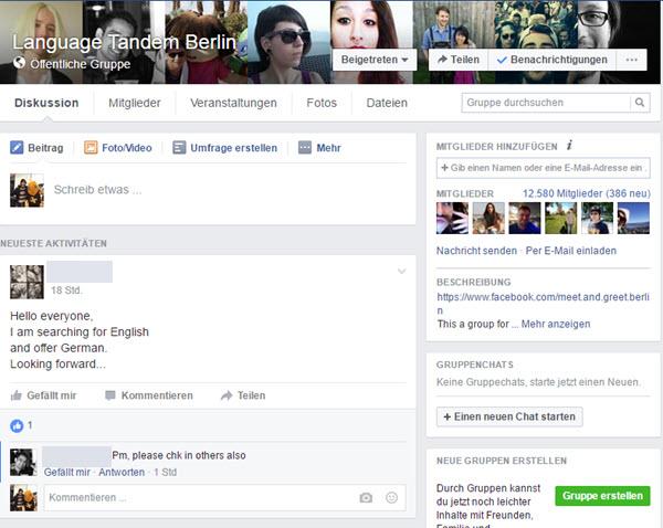 Online einen Tandempartner finden: Facebook