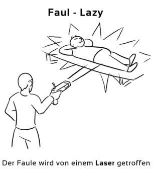 Faul-Lazy Eselsbrücke Deutsch-Englisch