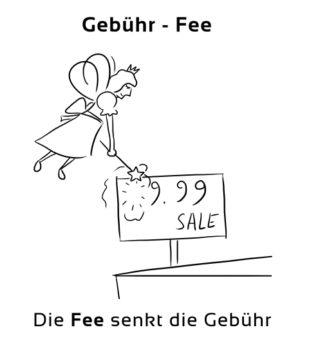 Gebuehr-Fee Eselsbrücke Deutsch-Englisch