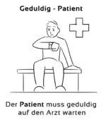 Geduldig-Patient Eselsbrücke Deutsch-Englisch