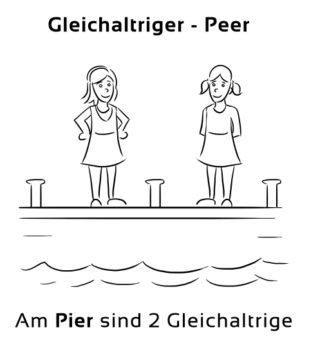 Gleichaltriger-Peer-Eselsbrücke-Deutsch-Englisch