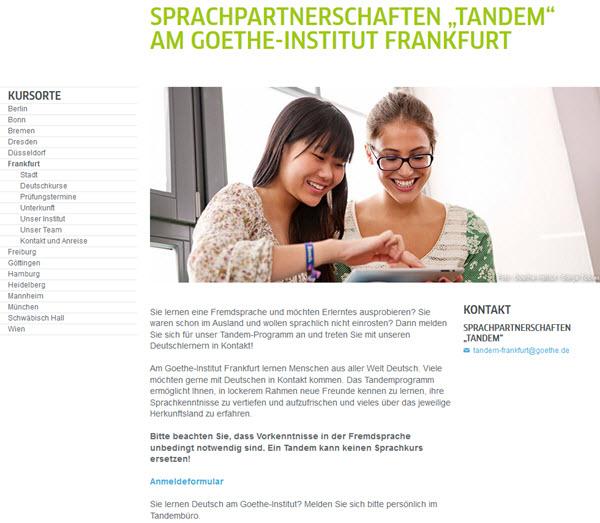Online einen Tandempartner finden: Goethe-Institut