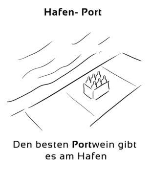 Hafen-Port Eselsbrücke Deutsch-Englisch