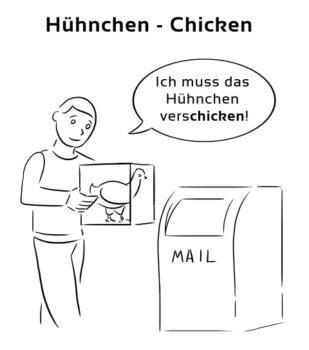 Huehnchen-Chicken Eselsbrücke Deutsch-Englisch