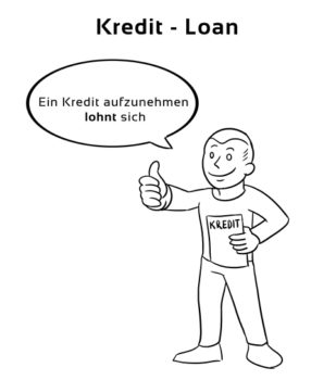Kredit-Loan Eselsbrücke Deutsch-Englisch
