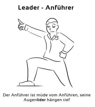 Leader-Anfuehrer Eselsbrücke Deutsch-Englisch