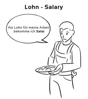 eselsbrücke Deutsch Englisch lohn salary