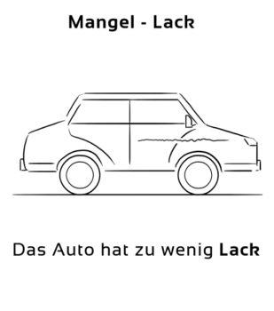 Mangel-Lack Eselsbrücke Deutsch-Englisch