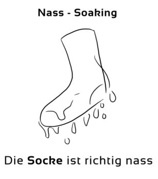 Nass-Soaking Eselsbrücke Deutsch-Englisch