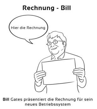 Rechnung-Bill Eselsbrücke Deutsch-Englisch