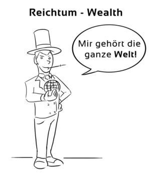 Reichtum-Wealth Eselsbrücke Deutsch-Englisch