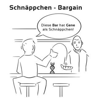 Schnaeppchen-Bargain Eselsbrücke Deutsch-Englisch