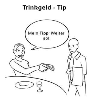 Trinkgeld-Tip Eselsbrücke Deutsch-Englisch