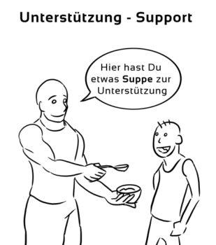 Unterstuetzung-Support Eselsbrücke Deutsch-Englisch