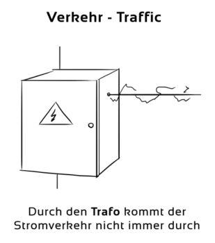 Verkehr-Traffic Eselsbrücke Deutsch-Englisch