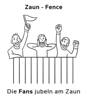 Zaun-Fence Eselsbrücke Deutsch-Englisch