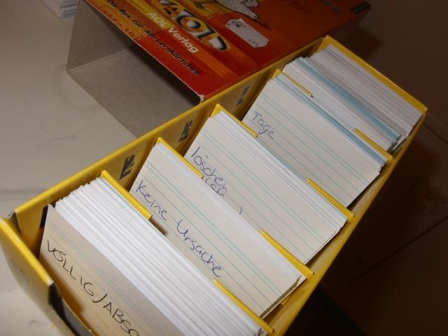 Vokabeln lernen mit einer Karteikartenbox