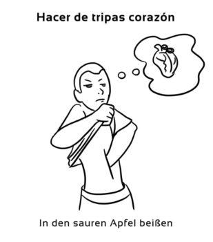 Hacer-de-tripas-corazon-Spanische-Redewendungen-Sprichwörter