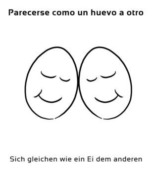 Parecerse-como-un-huevo-al-otro-Spanische-Redewendungen-Sprichwörter