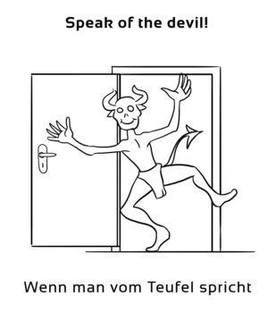 Speak-of-the-devil-englische-sprichwörter-redewendung
