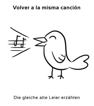 Volver-a-la-misma-cancion-Spanische-Redewendungen-Sprichwörter
