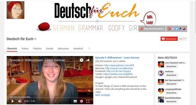 YouTube-Kanal zum Deutsch lernen