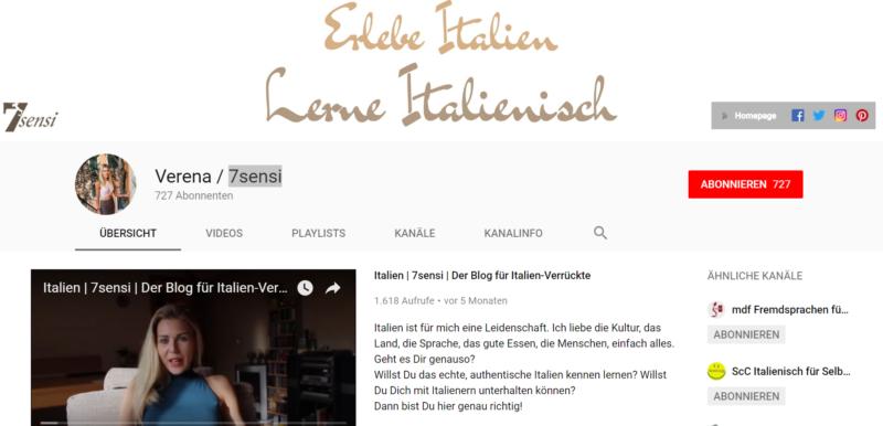Italienisch lernen Youtube Kanal anfaenger 7sensi