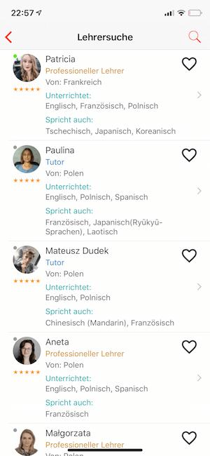 Liste Lehrer Fremdsprache italki