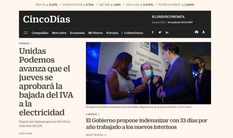Cinco Días Spanische Zeitung