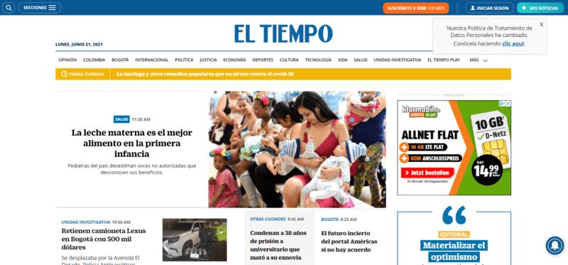 El Tiempo Spanische Zeitung