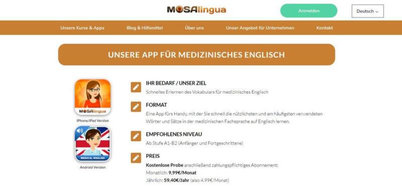 App Medizinisches Englisch lernen
