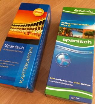 Die Karteikarten, die ich für Spanisch benutzt habe.